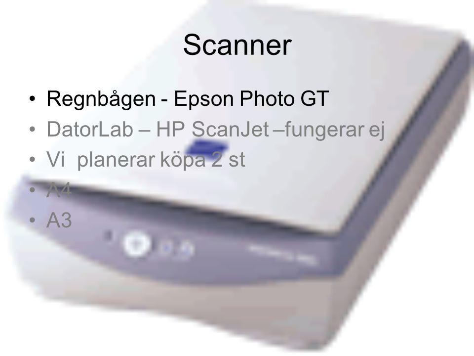 Scanner Regnbågen - Epson Photo GT DatorLab – HP ScanJet –fungerar ej Vi planerar köpa 2 st A4 A3