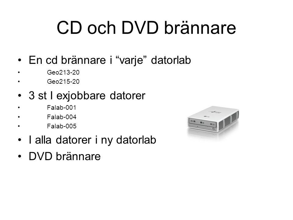 CD och DVD brännare En cd brännare i varje datorlab Geo213-20 Geo215-20 3 st I exjobbare datorer Falab-001 Falab-004 Falab-005 I alla datorer i ny datorlab DVD brännare
