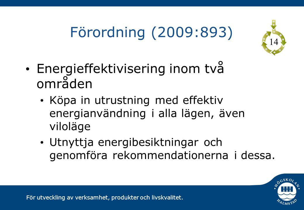 För utveckling av verksamhet, produkter och livskvalitet. Förordning (2009:893) Energieffektivisering inom två områden Köpa in utrustning med effektiv