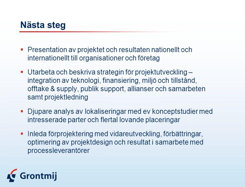 Nästa steg  Presentation av projektet och resultaten nationellt och internationellt till organisationer och företag  Utarbeta och beskriva strategin för projektutveckling – integration av teknologi, finansiering, miljö och tillstånd, offtake & supply, publik support, allianser och samarbeten samt projektledning  Djupare analys av lokaliseringar med ev konceptstudier med intresserade parter och flertal lovande placeringar  Inleda förprojektering med vidareutveckling, förbättringar, optimering av projektdesign och resultat i samarbete med processleverantörer
