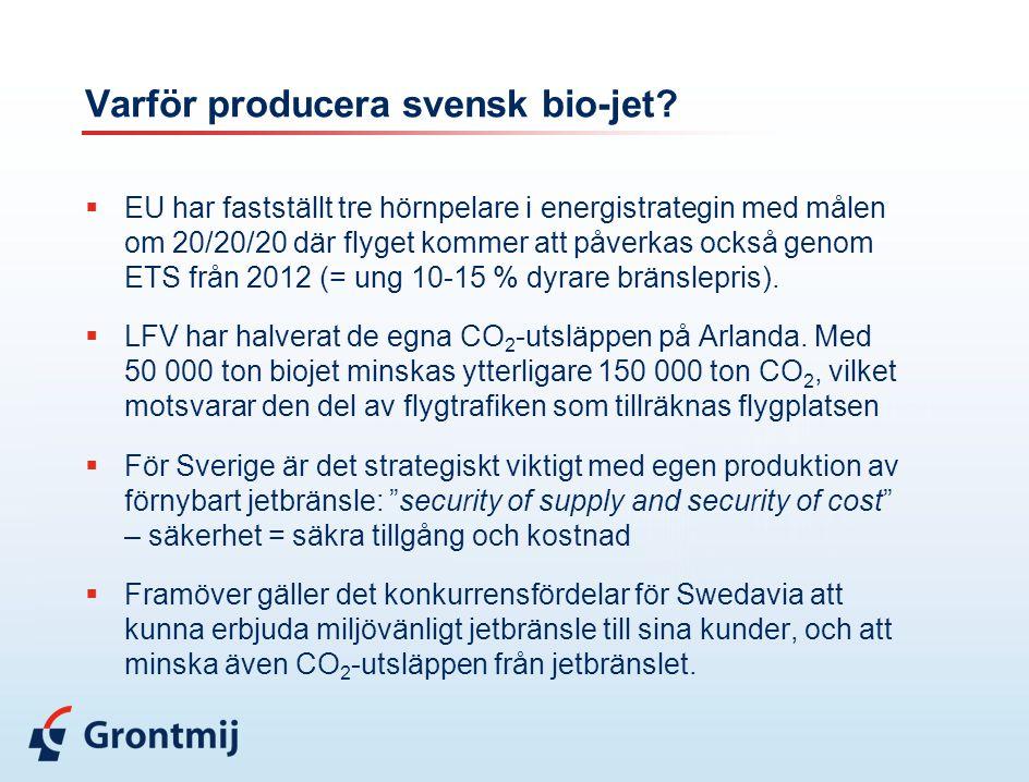 Varför producera svensk bio-jet?  EU har fastställt tre hörnpelare i energistrategin med målen om 20/20/20 där flyget kommer att påverkas också genom