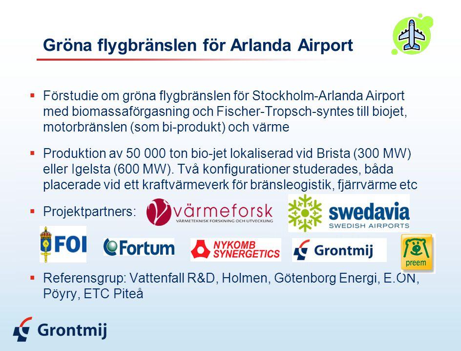 Gröna flygbränslen för Arlanda Airport  Förstudie om gröna flygbränslen för Stockholm-Arlanda Airport med biomassaförgasning och Fischer-Tropsch-syntes till biojet, motorbränslen (som bi-produkt) och värme  Produktion av 50 000 ton bio-jet lokaliserad vid Brista (300 MW) eller Igelsta (600 MW).