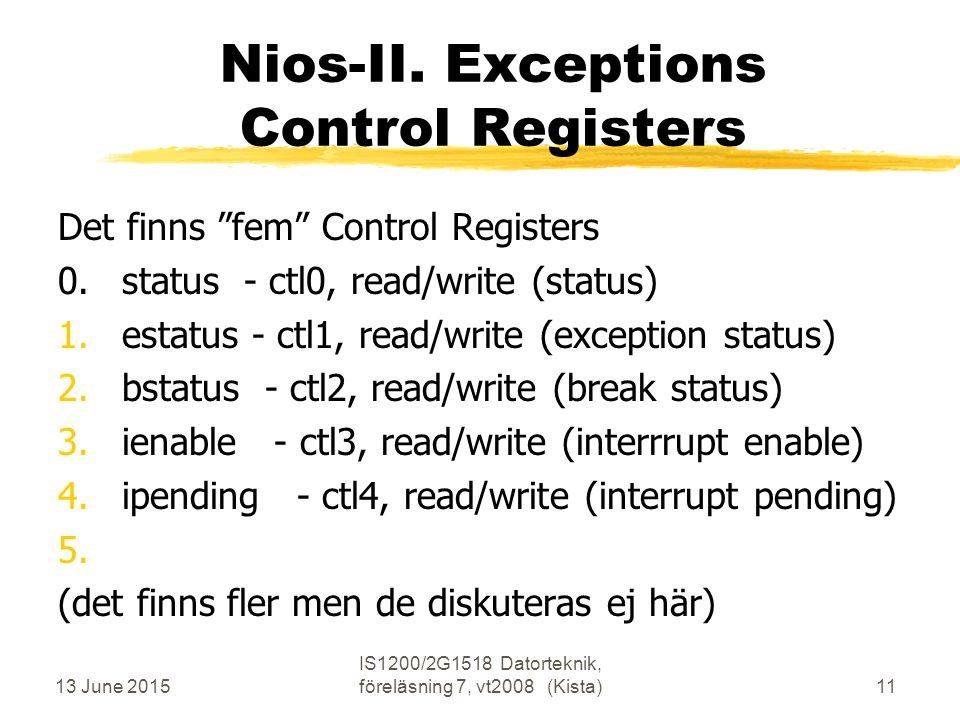 13 June 2015 IS1200/2G1518 Datorteknik, föreläsning 7, vt2008 (Kista)11 Nios-II.