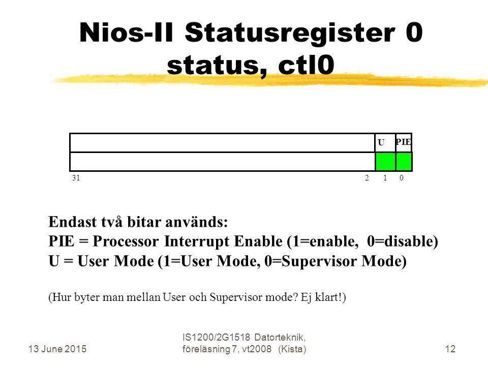13 June 2015 IS1200/2G1518 Datorteknik, föreläsning 7, vt2008 (Kista)12 Nios-II Statusregister 0 status, ctl0 31 2 1 0 U PIE Endast två bitar används: PIE = Processor Interrupt Enable (1=enable, 0=disable) U = User Mode (1=User Mode, 0=Supervisor Mode) (Hur byter man mellan User och Supervisor mode.