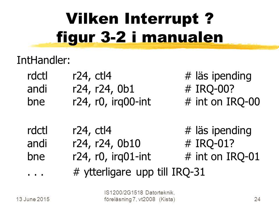 13 June 2015 IS1200/2G1518 Datorteknik, föreläsning 7, vt2008 (Kista)24 Vilken Interrupt .