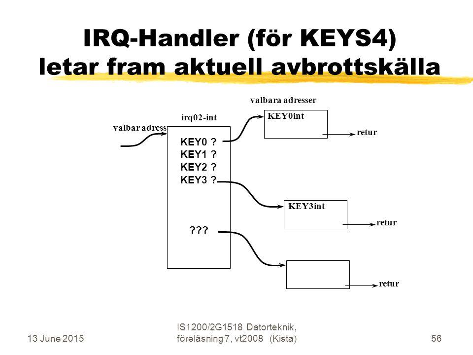13 June 2015 IS1200/2G1518 Datorteknik, föreläsning 7, vt2008 (Kista)56 IRQ-Handler (för KEYS4) letar fram aktuell avbrottskälla irq02-int valbar adress KEY0int valbara adresser KEY0 .