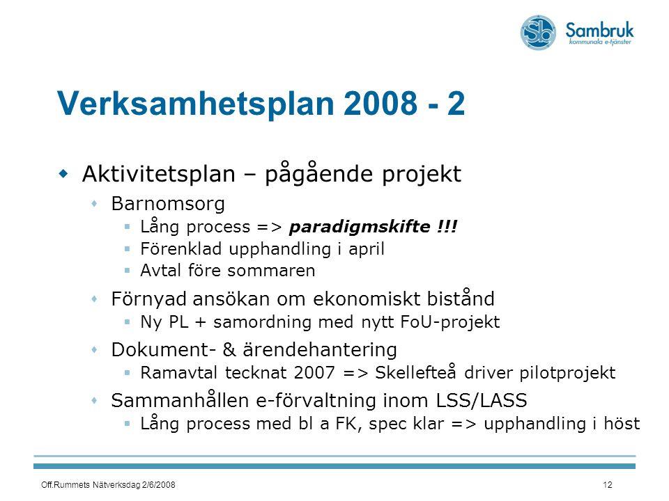 Off.Rummets Nätverksdag 2/6/200812 Verksamhetsplan 2008 - 2  Aktivitetsplan – pågående projekt  Barnomsorg  Lång process => paradigmskifte !!.