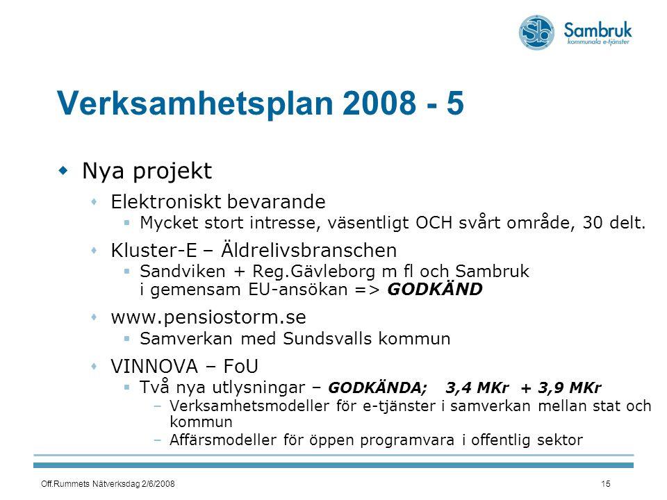 Off.Rummets Nätverksdag 2/6/200815 Verksamhetsplan 2008 - 5  Nya projekt  Elektroniskt bevarande  Mycket stort intresse, väsentligt OCH svårt område, 30 delt.