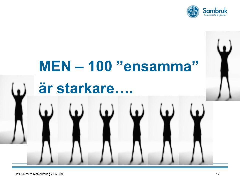 Off.Rummets Nätverksdag 2/6/200817 MEN – 100 ensamma är starkare….