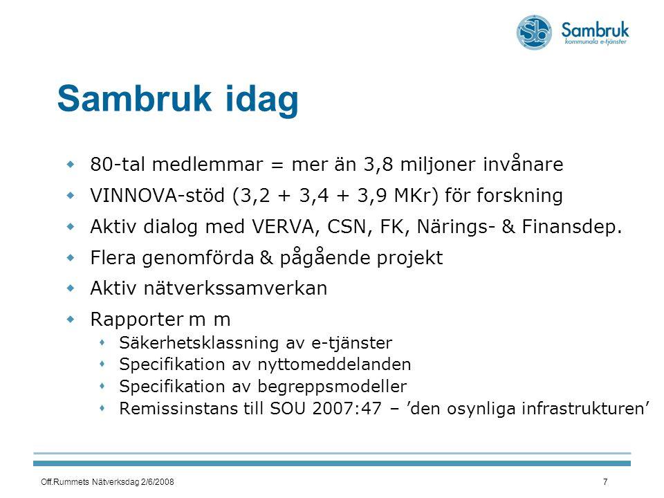 Off.Rummets Nätverksdag 2/6/20087 Sambruk idag  80-tal medlemmar = mer än 3,8 miljoner invånare  VINNOVA-stöd (3,2 + 3,4 + 3,9 MKr) för forskning  Aktiv dialog med VERVA, CSN, FK, Närings- & Finansdep.