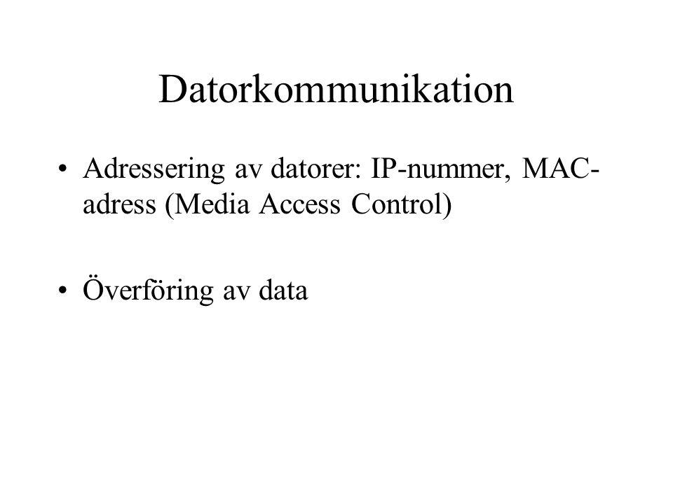 Datorkommunikation Adressering av datorer: IP-nummer, MAC- adress (Media Access Control) Överföring av data