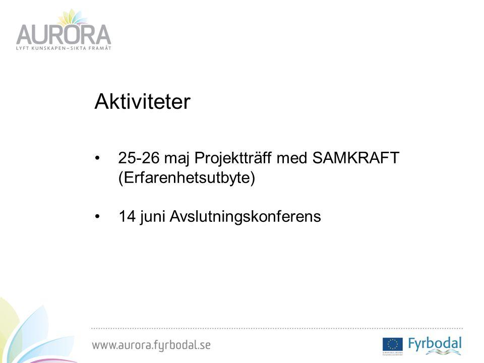 Aktiviteter 25-26 maj Projektträff med SAMKRAFT (Erfarenhetsutbyte) 14 juni Avslutningskonferens