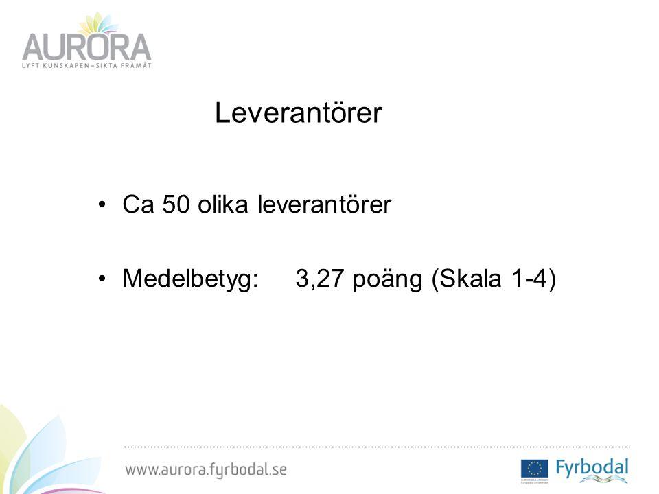 Leverantörer Ca 50 olika leverantörer Medelbetyg: 3,27 poäng (Skala 1-4)
