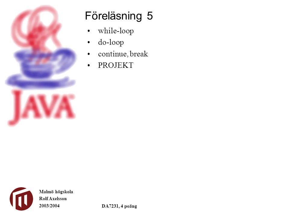 Malmö högskola Rolf Axelsson 2003/2004 DA7231, 4 poäng while-loop do-loop continue, break PROJEKT Föreläsning 5
