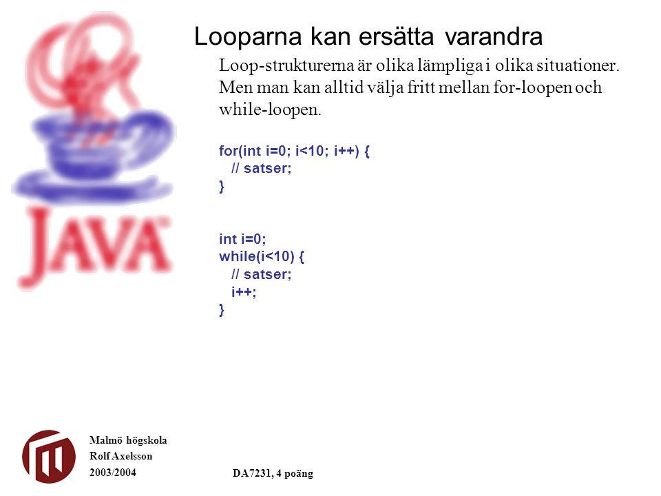 Malmö högskola Rolf Axelsson 2003/2004 DA7231, 4 poäng Loop-strukturerna är olika lämpliga i olika situationer. Men man kan alltid välja fritt mellan