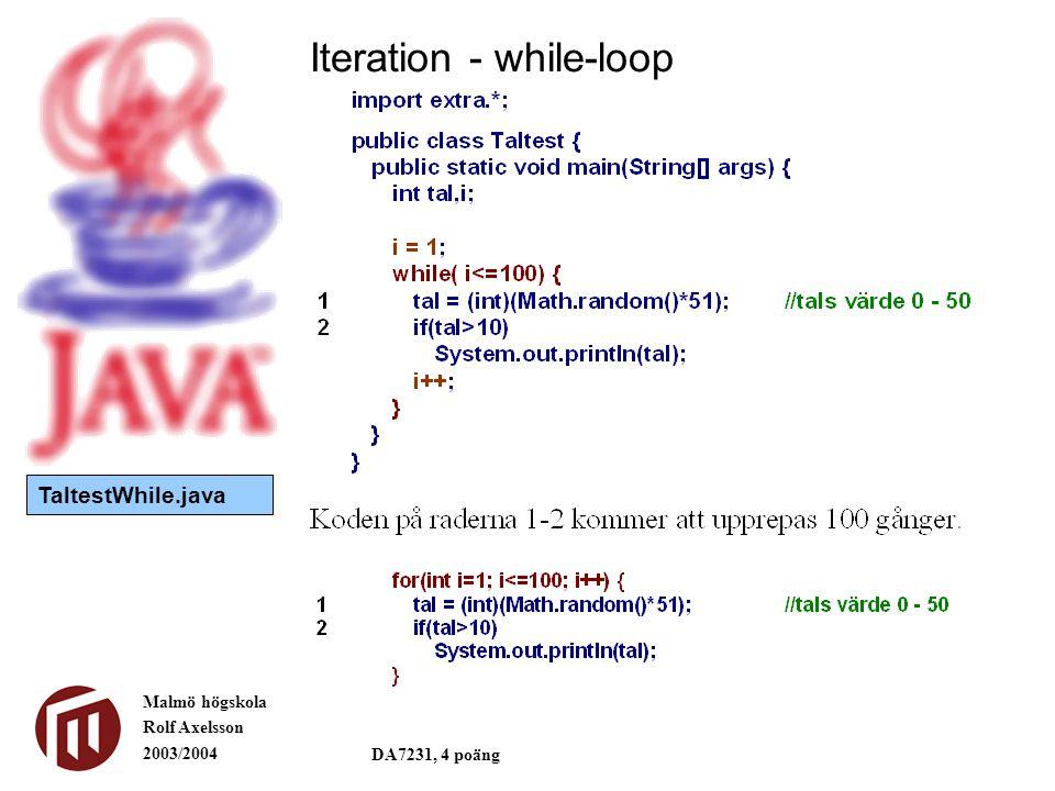 Malmö högskola Rolf Axelsson 2003/2004 DA7231, 4 poäng Iteration - while-loop TaltestWhile.java