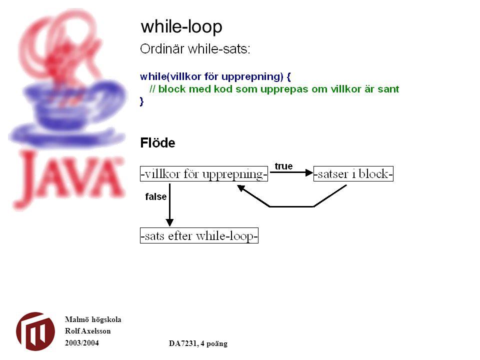 Malmö högskola Rolf Axelsson 2003/2004 DA7231, 4 poäng while-loop