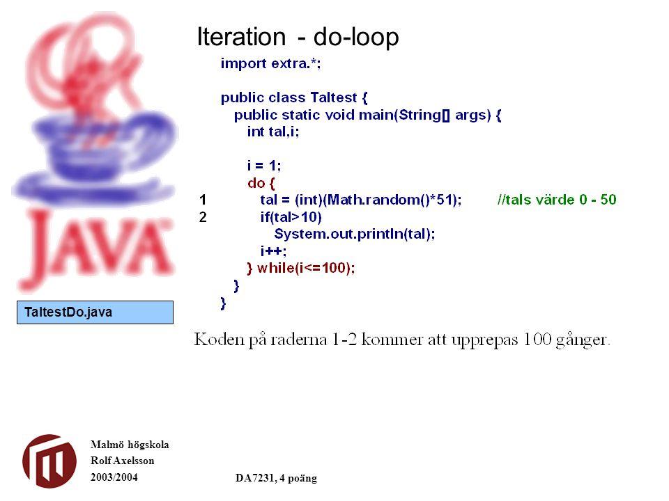 Malmö högskola Rolf Axelsson 2003/2004 DA7231, 4 poäng Iteration - do-loop TaltestDo.java