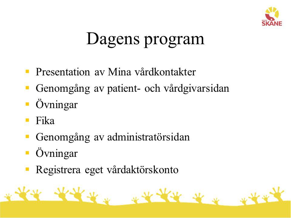 Dagens program  Presentation av Mina vårdkontakter  Genomgång av patient- och vårdgivarsidan  Övningar  Fika  Genomgång av administratörsidan  Ö
