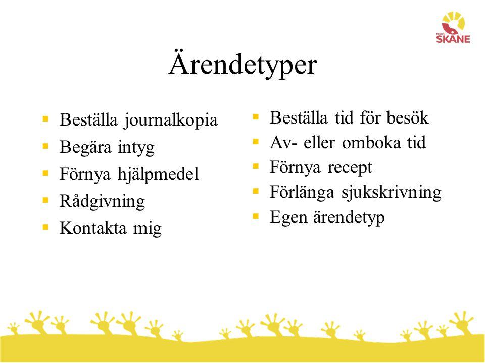 Ärendetyper  Beställa journalkopia  Begära intyg  Förnya hjälpmedel  Rådgivning  Kontakta mig  Beställa tid för besök  Av- eller omboka tid  F