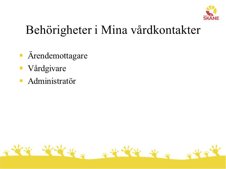 Behörigheter i Mina vårdkontakter  Ärendemottagare  Vårdgivare  Administratör