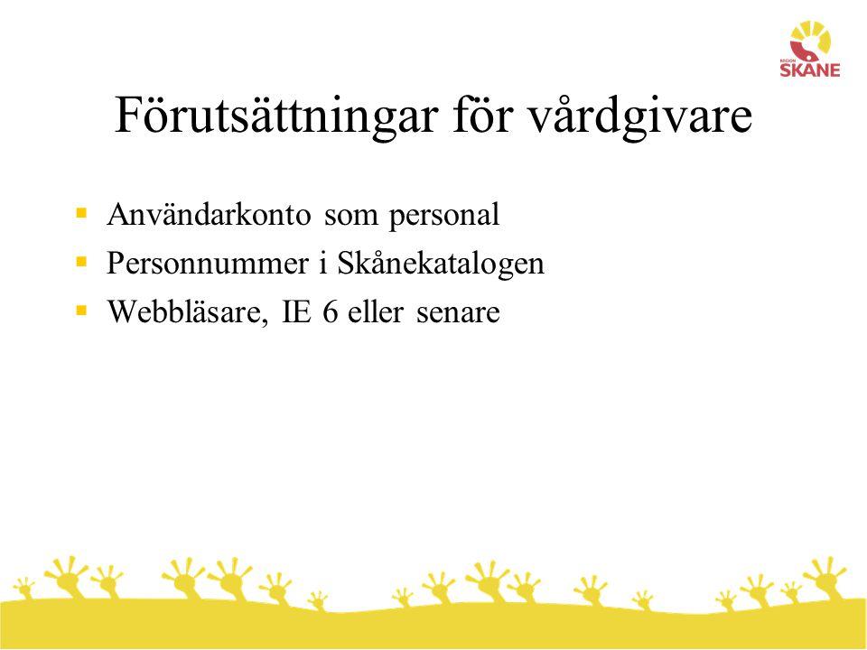 Förutsättningar för vårdgivare  Användarkonto som personal  Personnummer i Skånekatalogen  Webbläsare, IE 6 eller senare