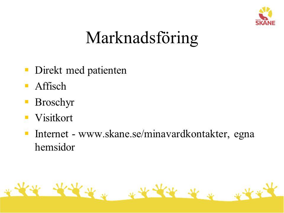 Marknadsföring  Direkt med patienten  Affisch  Broschyr  Visitkort  Internet - www.skane.se/minavardkontakter, egna hemsidor