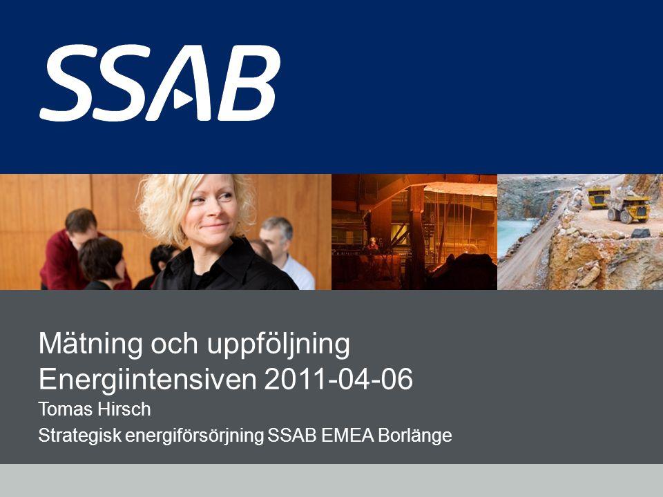 Grid Mätning och uppföljning Energiintensiven 2011-04-06 Tomas Hirsch Strategisk energiförsörjning SSAB EMEA Borlänge
