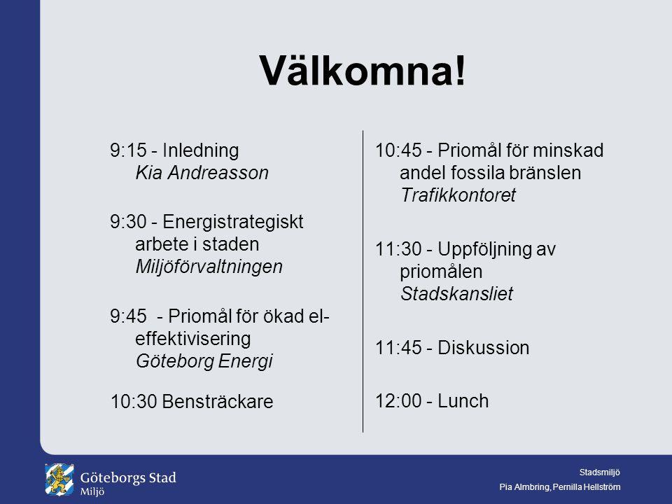 Stadsmiljö Pia Almbring, Pernilla Hellström Välkomna.
