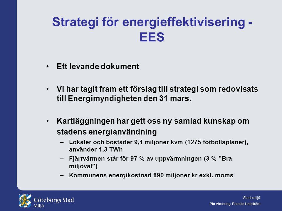Stadsmiljö Pia Almbring, Pernilla Hellström Strategi för energieffektivisering - EES Ett levande dokument Vi har tagit fram ett förslag till strategi som redovisats till Energimyndigheten den 31 mars.