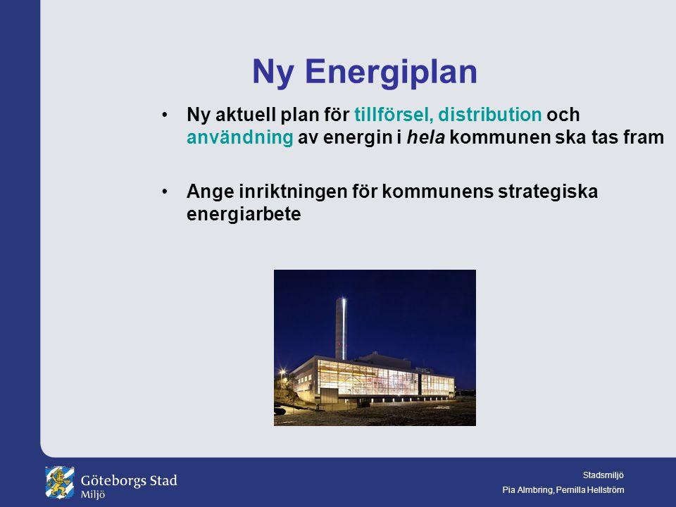 Stadsmiljö Pia Almbring, Pernilla Hellström Ny Energiplan Ny aktuell plan för tillförsel, distribution och användning av energin i hela kommunen ska tas fram Ange inriktningen för kommunens strategiska energiarbete