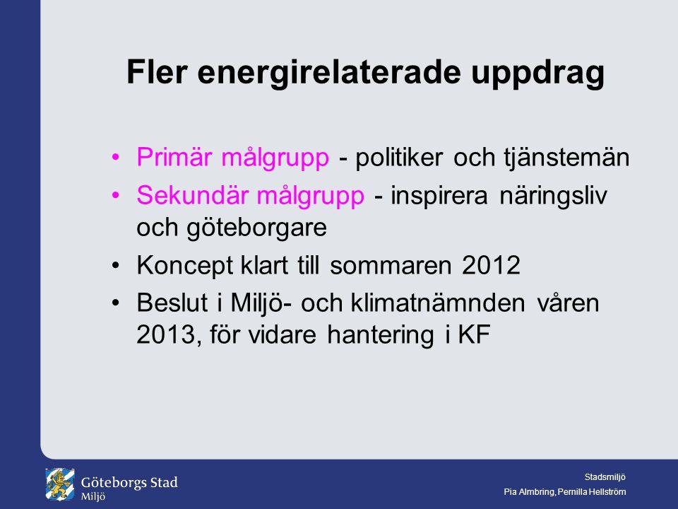 Stadsmiljö Pia Almbring, Pernilla Hellström Fler energirelaterade uppdrag Primär målgrupp - politiker och tjänstemän Sekundär målgrupp - inspirera näringsliv och göteborgare Koncept klart till sommaren 2012 Beslut i Miljö- och klimatnämnden våren 2013, för vidare hantering i KF