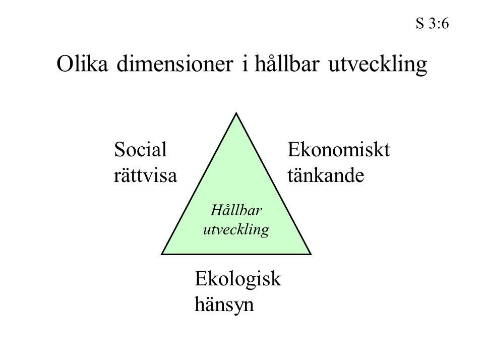 Olika dimensioner i hållbar utveckling Hållbar utveckling Social rättvisa Ekonomiskt tänkande Ekologisk hänsyn S 3:6