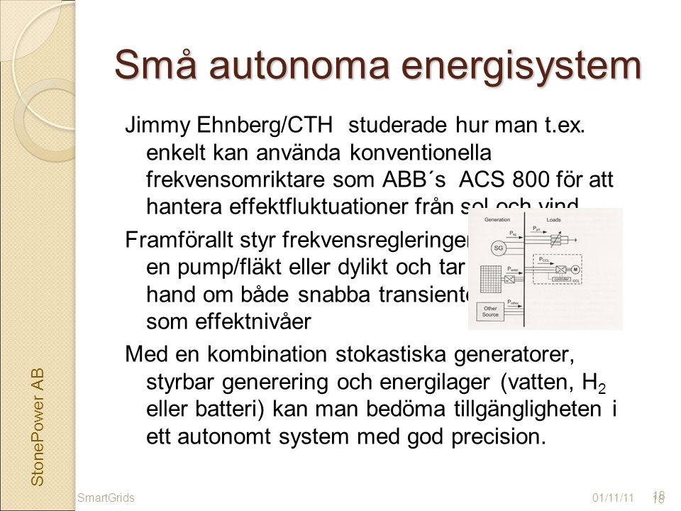 StonePower AB 18 Små autonoma energisystem 01/11/11 18 SmartGrids Jimmy Ehnberg/CTH studerade hur man t.ex.