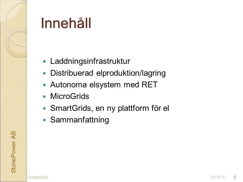2Innehåll Laddningsinfrastruktur Distribuerad elproduktion/lagring Autonoma elsystem med RET MicroGrids SmartGrids, en ny plattform för el Sammanfattning 01/11/11SmartGrids 2