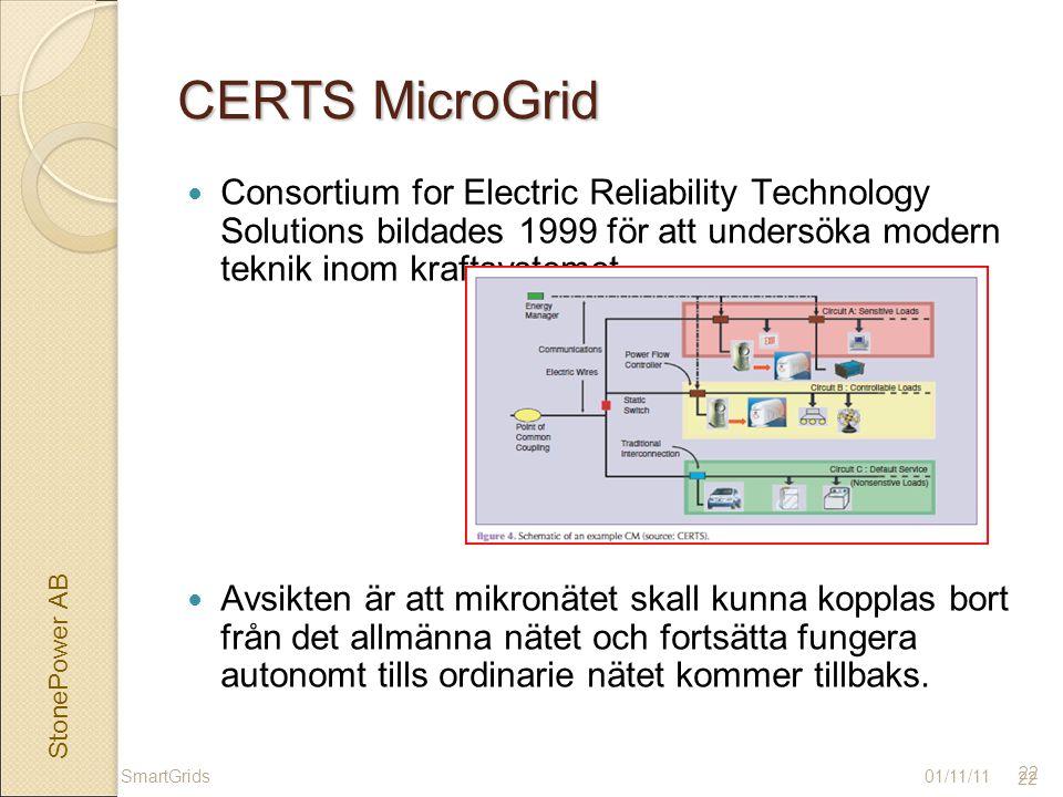 StonePower AB 22 CERTS MicroGrid Consortium for Electric Reliability Technology Solutions bildades 1999 för att undersöka modern teknik inom kraftsystemet.