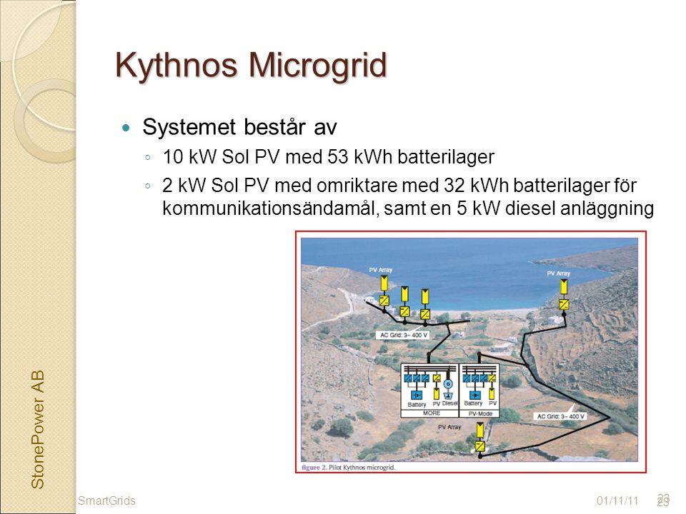StonePower AB 23 Kythnos Microgrid Systemet består av ◦ 10 kW Sol PV med 53 kWh batterilager ◦ 2 kW Sol PV med omriktare med 32 kWh batterilager för kommunikationsändamål, samt en 5 kW diesel anläggning 01/11/11 23 SmartGrids