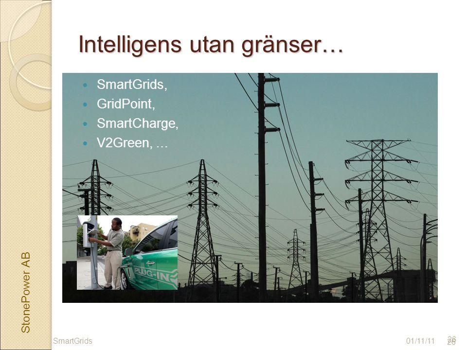StonePower AB 26 Intelligens utan gränser… SmartGrids, GridPoint, SmartCharge, V2Green, … 01/11/11SmartGrids 26