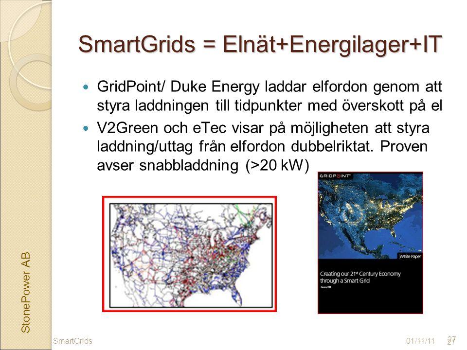 StonePower AB 27 SmartGrids = Elnät+Energilager+IT GridPoint/ Duke Energy laddar elfordon genom att styra laddningen till tidpunkter med överskott på el V2Green och eTec visar på möjligheten att styra laddning/uttag från elfordon dubbelriktat.