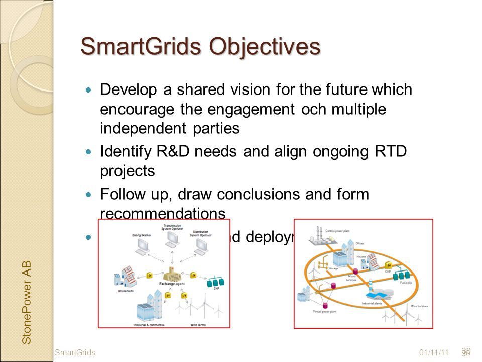 StonePower AB 30 SmartGrids Objectives Develop a shared vision for the future which encourage the engagement och multiple independent parties Identify R&D needs and align ongoing RTD projects Follow up, draw conclusions and form recommendations Implementation and deployment plan 01/11/11SmartGrids 30