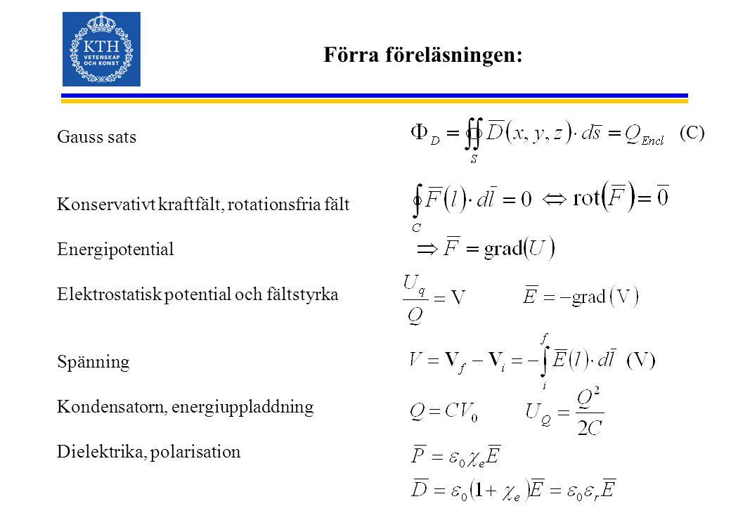 Förra föreläsningen: Gauss sats Konservativt kraftfält, rotationsfria fält Energipotential Elektrostatisk potential och fältstyrka Spänning Kondensatorn, energiuppladdning Dielektrika, polarisation (C)