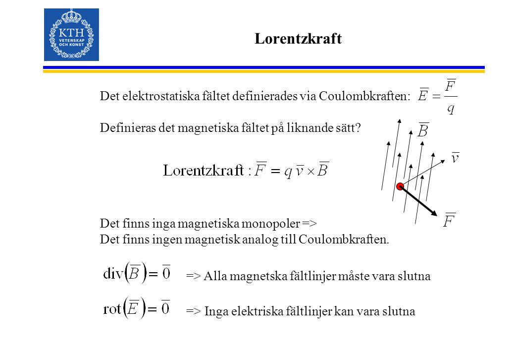 Lorentzkraft Det elektrostatiska fältet definierades via Coulombkraften: Definieras det magnetiska fältet på liknande sätt.
