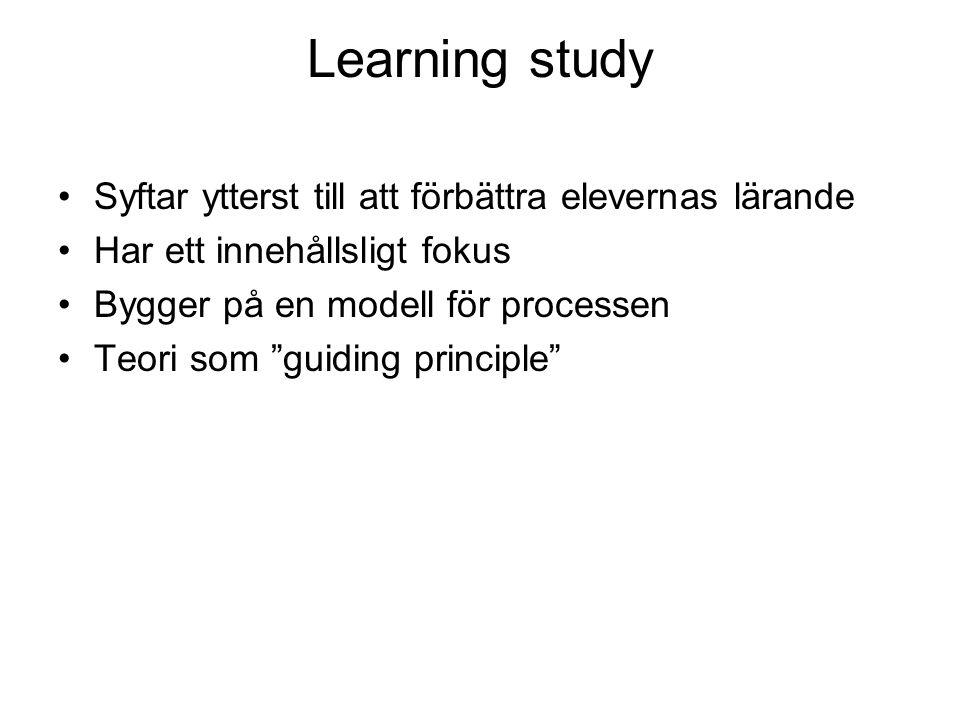 Learning study Syftar ytterst till att förbättra elevernas lärande Har ett innehållsligt fokus Bygger på en modell för processen Teori som guiding principle