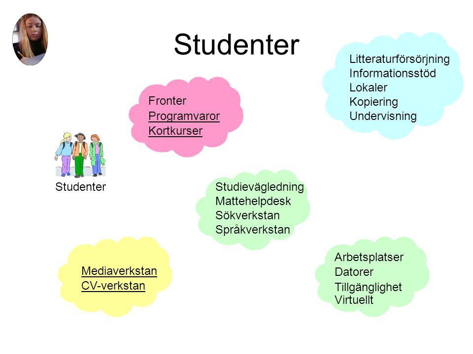 Externa kunder Externa kunder Arbetsplatser Datorer Tillgänglighet Virtuellt Litteraturförsörjning Informationsstöd Lokaler Kopiering Undervisning