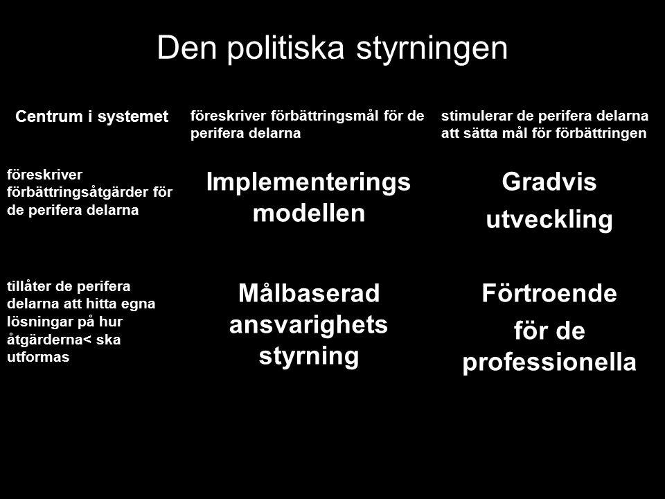 Den politiska styrningen Centrum i systemet föreskriver förbättringsmål för de perifera delarna stimulerar de perifera delarna att sätta mål för förbä