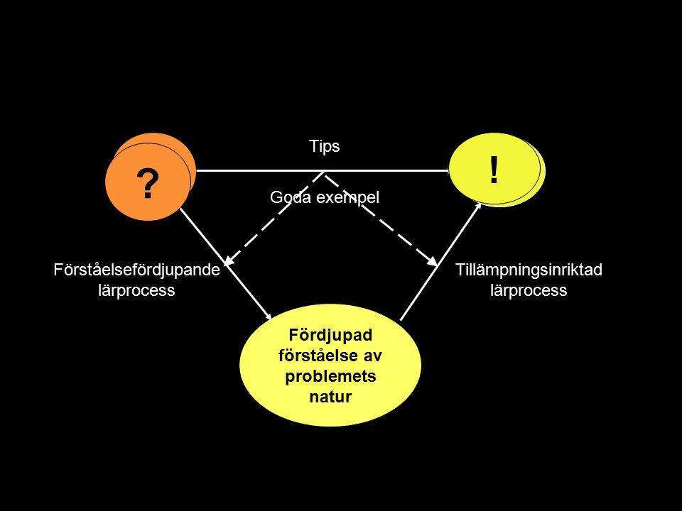 Fördjupad förståelse av problemets natur Tips Goda exempel Förståelsefördjupande lärprocess Tillämpningsinriktad lärprocess - + ? !