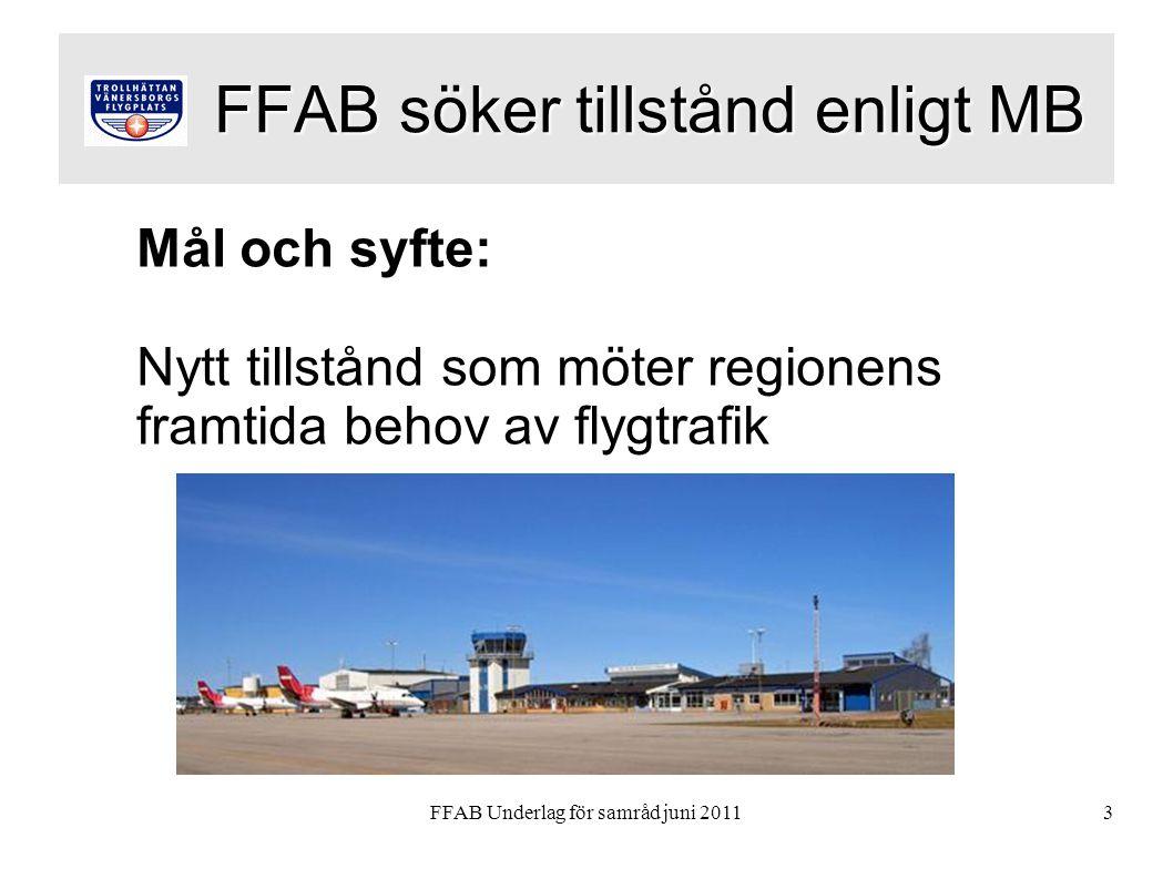FFAB Underlag för samråd juni 20113 FFAB söker tillstånd enligt MB FFAB söker tillstånd enligt MB Mål och syfte: Nytt tillstånd som möter regionens framtida behov av flygtrafik