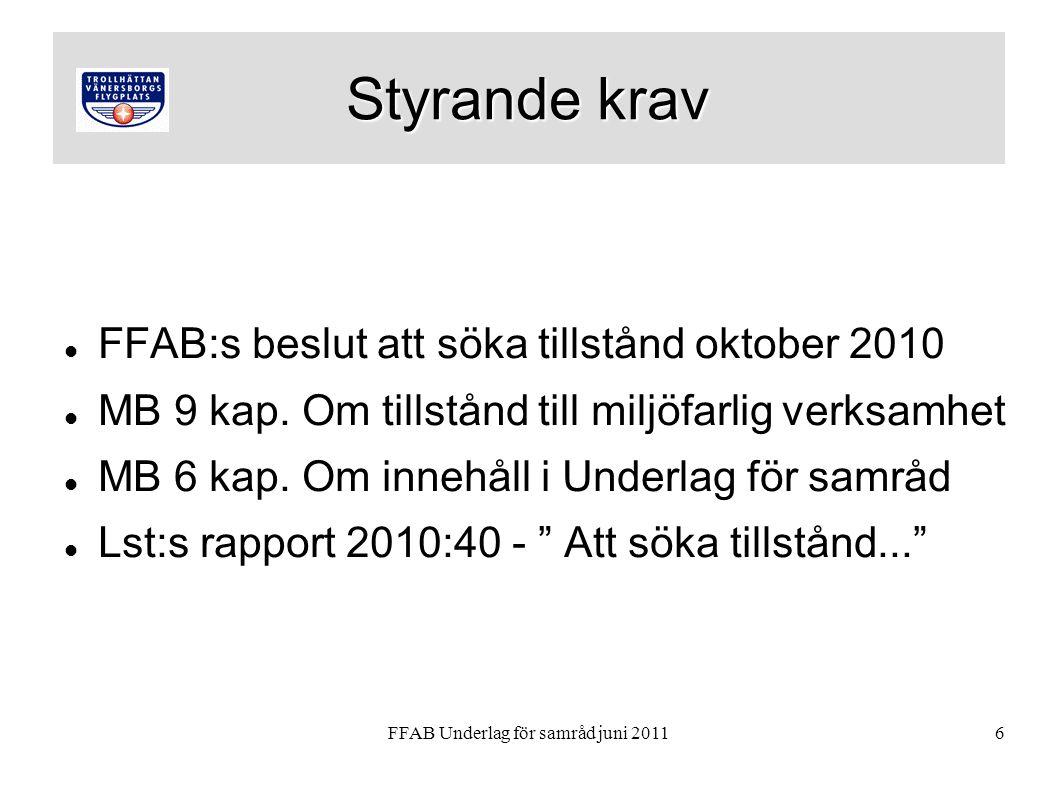 FFAB Underlag för samråd juni 20116 Styrande krav FFAB:s beslut att söka tillstånd oktober 2010 MB 9 kap.