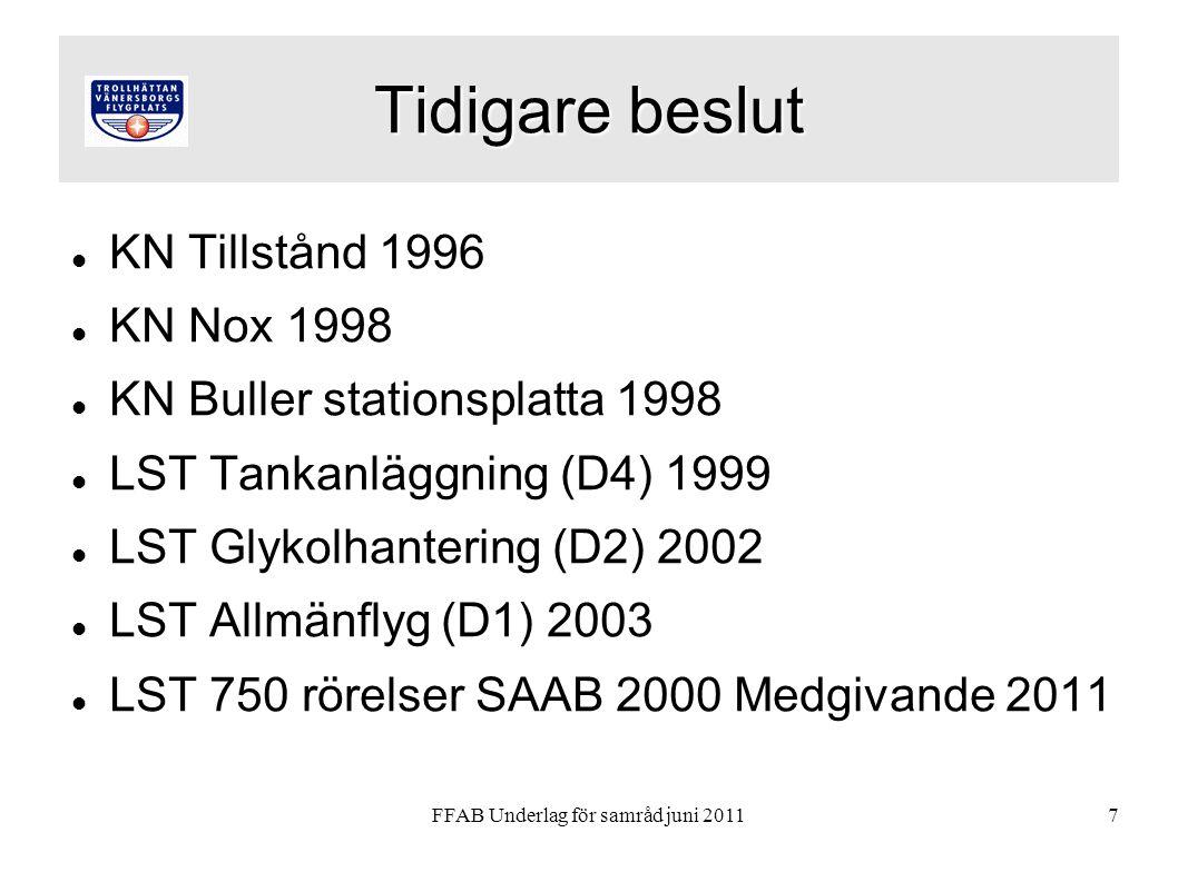 FFAB Underlag för samråd juni 20117 Tidigare beslut KN Tillstånd 1996 KN Nox 1998 KN Buller stationsplatta 1998 LST Tankanläggning (D4) 1999 LST Glykolhantering (D2) 2002 LST Allmänflyg (D1) 2003 LST 750 rörelser SAAB 2000 Medgivande 2011