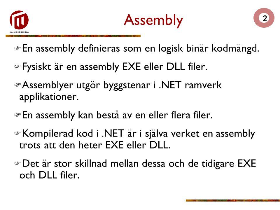 3.NET assembly  En.NET assembly är en självbeskrivande binär, innehållande typer (klasser, gränssnitt, delegater, strukturer och enumeraturer) och eventuellt resurser (bilder, GUI element, etc) som tillsammans bygger en körbar enhet (EXE eller DLL).
